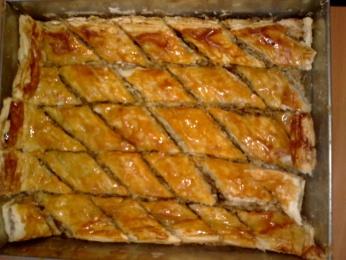 Baklava con frutos secos y miel
