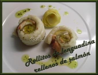 rollitos de lenguadina rellenos de salmon