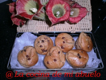 Muffins de arándanos rojos y pepitas de chocolate