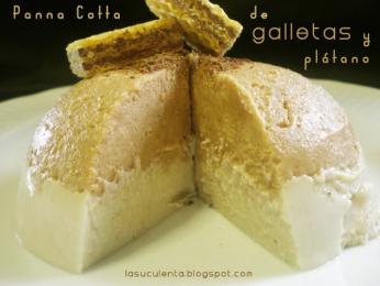 Pana Cotta de galletas La Flor Burgalesa y plátano
