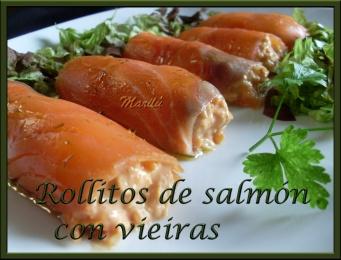 rollitos de salmón con vieiras