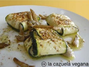 Raviolis de calabacín con pesto de orégano