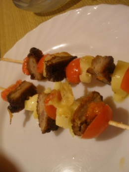 Brochetas de filete ruso